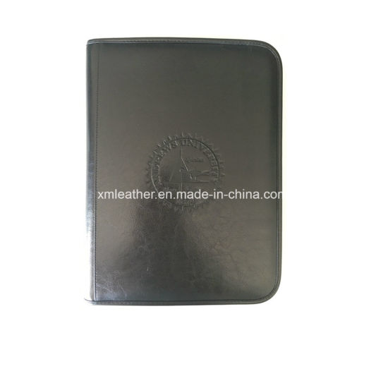 Black Personalized Zipper Pu Leather File Folder