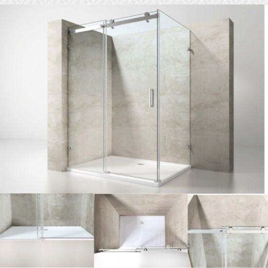 China Simple Design Tempered Glass Shower Enclosure With Stainless