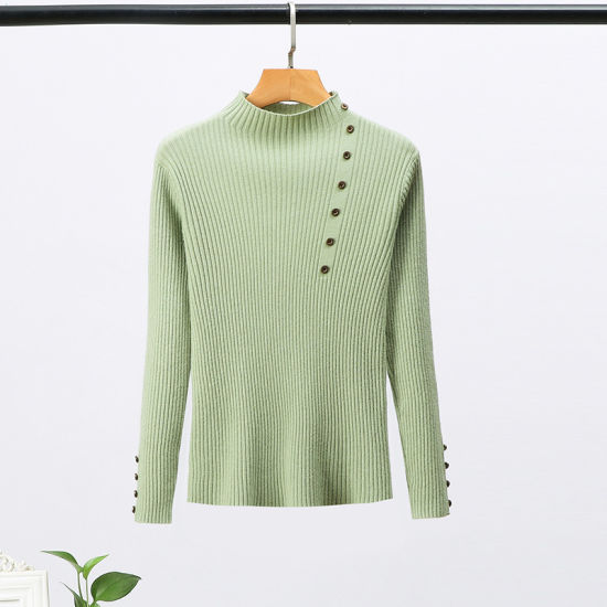 Multi-Color Winter Clothing Solid Color Pullover Button Casual Womens Knit Sweaters