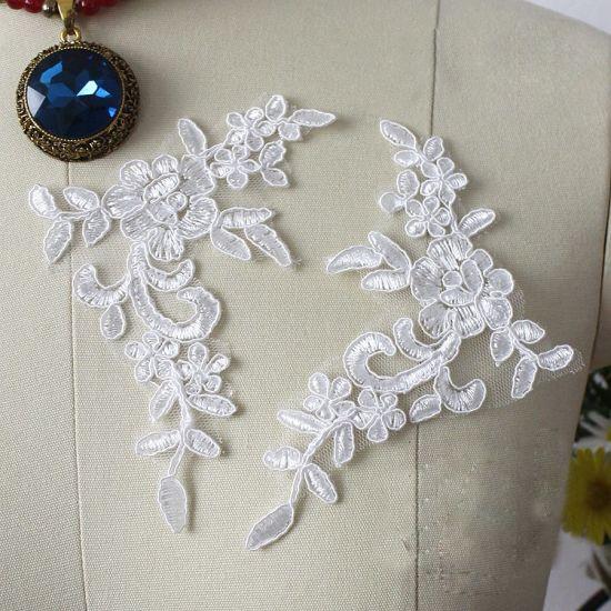 black or off white floral cotton lace applique shoes tulle lace motif By piece