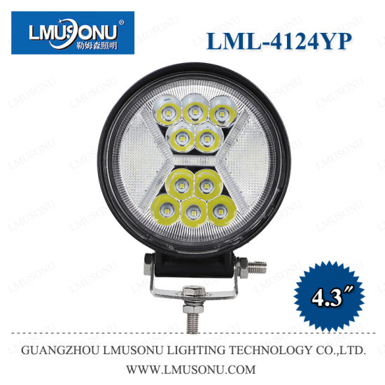 Lmusonu New Model 4.3 Inch 36W 4124yp Round LED Work Driving Light with White DRL Lamp Combo Beam Waterproof IP67