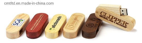 Promotion Gift Swivel Twister Wooden USB Flash Drive with Certificated Specification