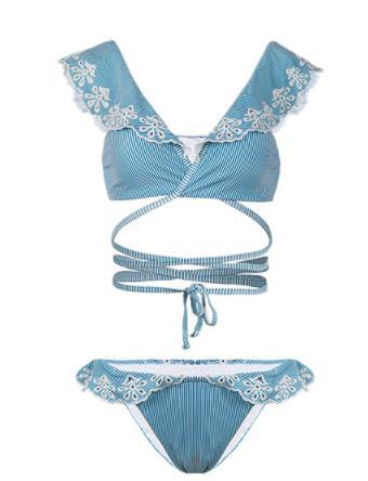 Cross-Band Bikini Swimwear Flounce Swimsuit for Ladies pictures & photos