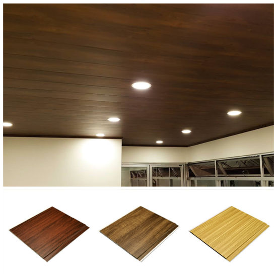 China 8mm Thickness Wood Color Grooves Pvc Laminated Panel Wall Ceiling Design For Indoor Household China Pvc Ceiling Pvc Laminated Panel