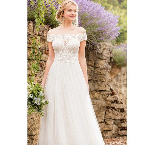 China Chiffon Bridal Gown Lace Empire Waist Beach Boho Wedding