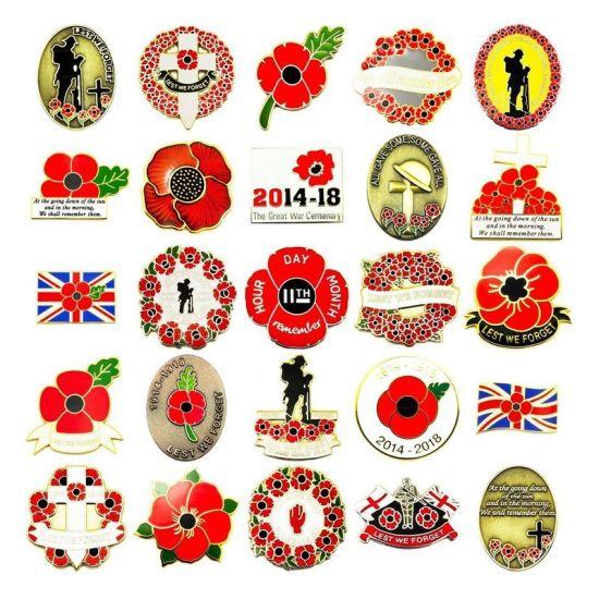 Low MOQ Lest We Forget Poppy Enamel Pin Badge for World War II Memorial