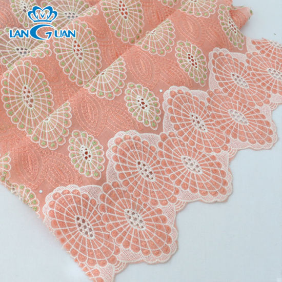 Hot Sale Champagne Color T/C Embroidery Fabric with Rhinestone