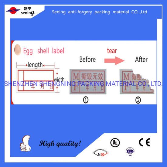 Self Adhesive Destructive Fragile Egg Shell Vinyl Printable Stickers Label