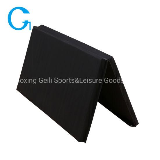 High Rebound Eco Friendly Gym Equipment 2-Fold Washable Black Gymnastics Mat
