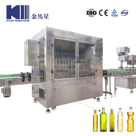 Automatic PLC Servo Piston Liquid Pet Glass Bottle Monobloc Salad Olive Soybean Sunflower Edible Oil Bottling Filling Capping Labeling Packing Plant Machine