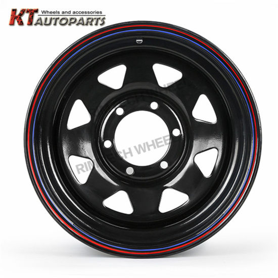 4X4 Offroad Steel Wheel 17inch with Red and Blue Line pictures & photos