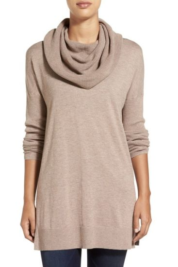 Side Slit Convertible Cowl Neck Tunic