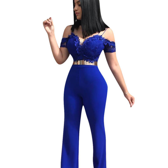 L55706 Sexy Spaghetti Straps off The Shoulder Blue One-Piece Jumpsuit (Without Belt)