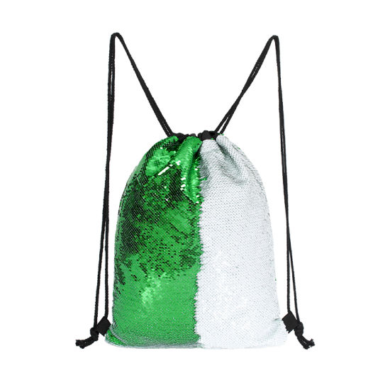 Fashion Reversible Shiny Sequin Drawstring Bag with Backpack Rope (Green/White)
