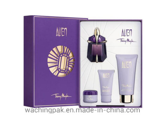High End Purple Skincare Set Packaging Box Cream Pack Box Hot Stamp Logo Printing Box