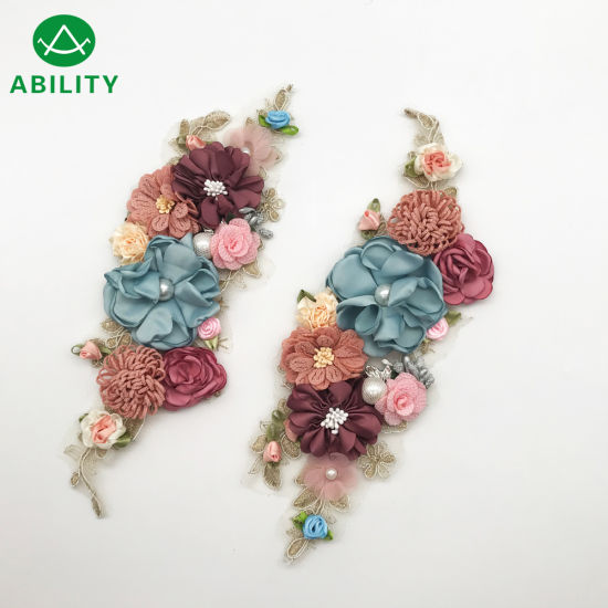 Customized Top Fashion Rhinstone Embroidery Flower Pair Applique Lace
