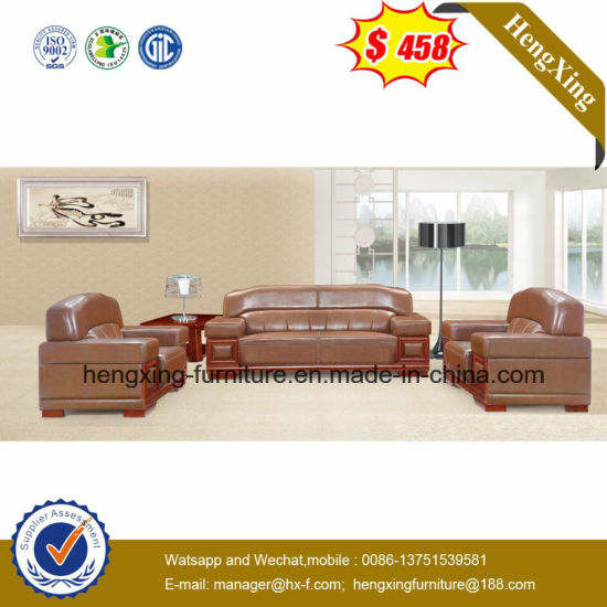 Black Leather 5 Seats Wooden Structure Office Sofa (HX CS033)