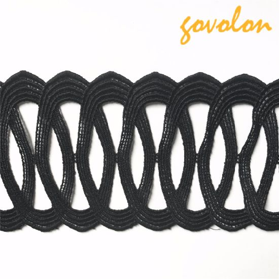 Black Hollow Polyester Trim Decoration for Garment