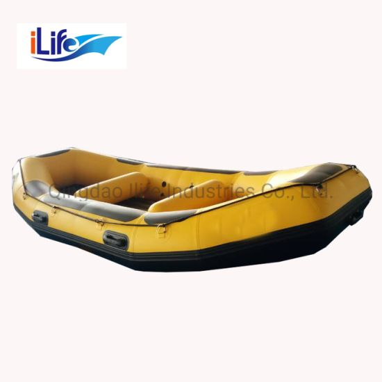 Ilife 1.2 mm PVC/Hypalon Inflatable White Water Raft Boat Fishing Whitewater River I-Beam Floor Self Baling Paddle Rafting Fly Fishing Raft Boat 3.8m