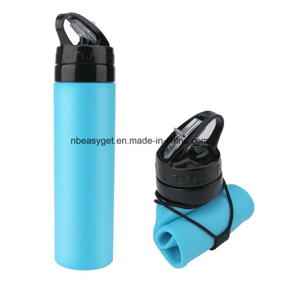Foldable Water Bottle Collapsible Silicone Bottle FDA-Approved Sports Canteen Roll up Cup for Outdoors, Hiking, Camping, Biking and Traveling - 600ml Esg10178 pictures & photos