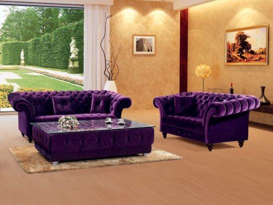 Luxury Purple Velvet Chesterfield Sofa Ms 08