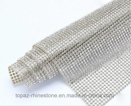 Ss6 2mm Crystal Mesh with Back Glue Iron on Rhinestone Mesh (TM-242/2mm crystal)