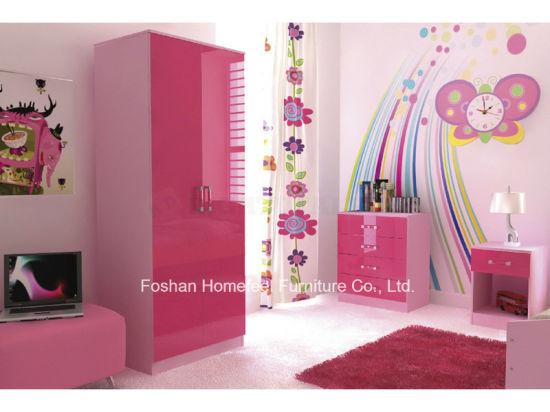 China Ottawa Pink High Gloss 3 Piece Kids Bedroom Furniture Set HF