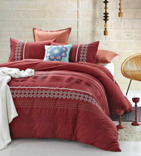 Attractive Red Geometry Shape Embroidery And Pleat Bedding Sets Home Design Ideas