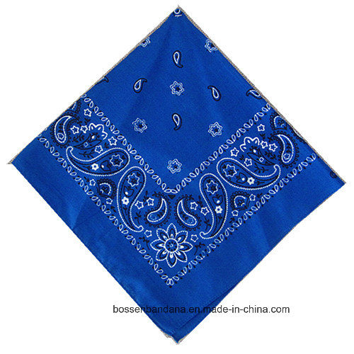 Promotional Custom Logo Printed Blue Cotton Paisley Headband Bandana pictures & photos