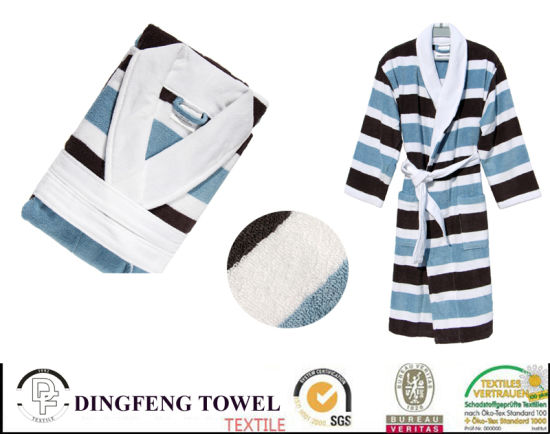New Season 100% Cotton Super Soft Jacquard Bathrobe Df-8858
