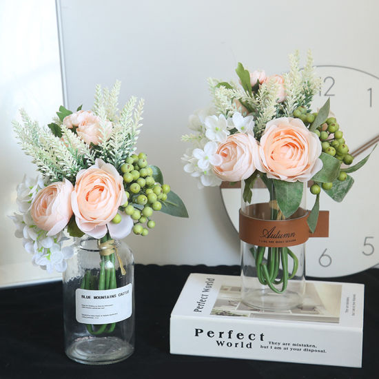China Silk Peonies Roses Wedding Bridal Bridesmaids Bouquets Pink