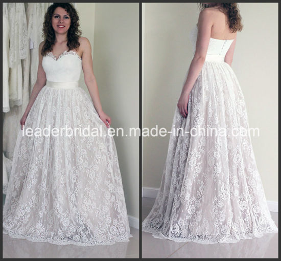 China Strapless Corset Wedding Dress Lace Sweetheart Bridal Gown ...