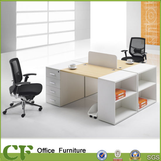 Modern Wood 2 Person Office Workstation With CPU Holder