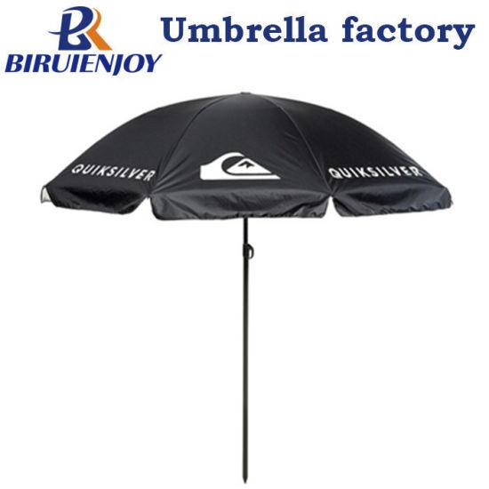 Outdoor Black Polyester Sun Market Umbrella with White Logo Printed