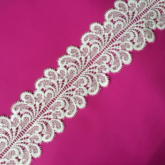 Fashion Embroidery Lace Trim Micro Fiber White Water Melts Lace pictures & photos