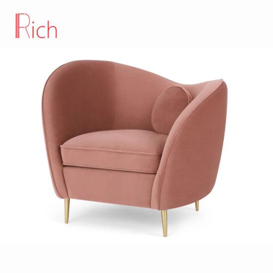 Gold Metal Legs Accent Sofa Chair