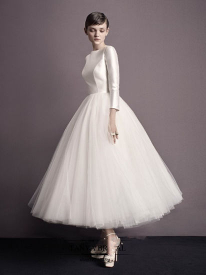 China 3 4 Sleeves Bridal Party Prom Gowns Tulle Tea Length Short