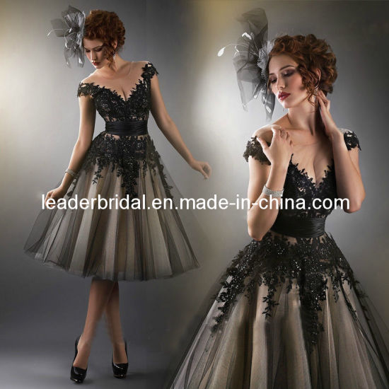 China Black Tulle Lace Evening Gowns Short Bridal Party Prom Dress