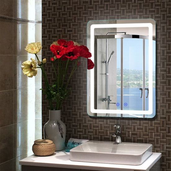 Wholesale Smart Household LED Bathroom Wall Mounted Furniture Mirror with Touch Screen Anti-Fog