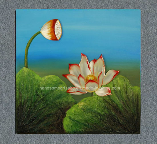 China Summer Lotus Oil Painting On Canvas With Transparent Glue