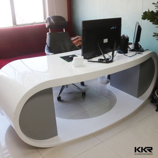 China Kkr Small White Solid Surface Salon Modern Reception