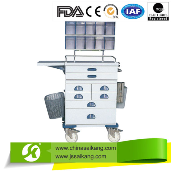 Practical Multifunctional Hospital Stainless Steel Anaesthetic Trolley pictures & photos