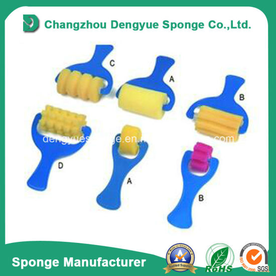 China Polyurethane Wedge Shaped Oil Paint Foam Brush For Kids