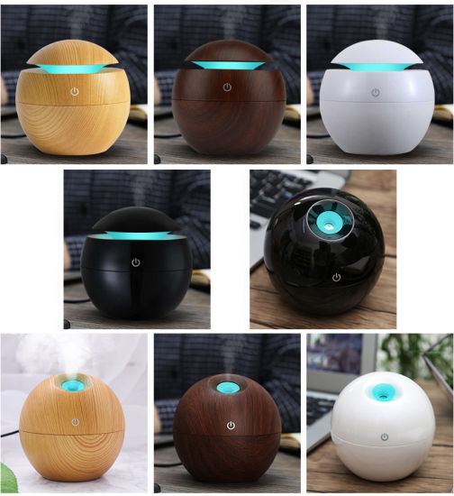 Mini Wooden Aromatherapy Humidifier Aroma Diffuser Essential Oil Diffuser Air Purifier Color Changing LED Touch Switch pictures & photos
