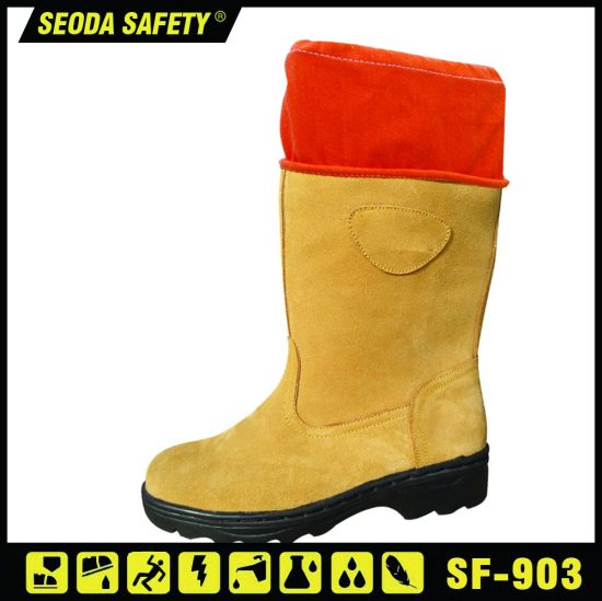 High Cut Suede Leather Waterproof Safety Working Shoes