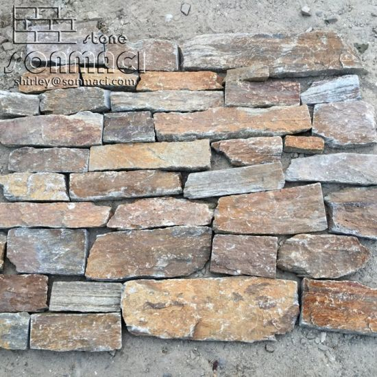 China Rust Color Quartzite Masonry Loose Stone Castle Stone