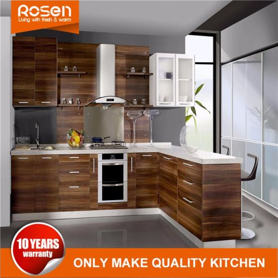Design New Brown Cherry Wood Veneer Modern Kitchen Cabinets