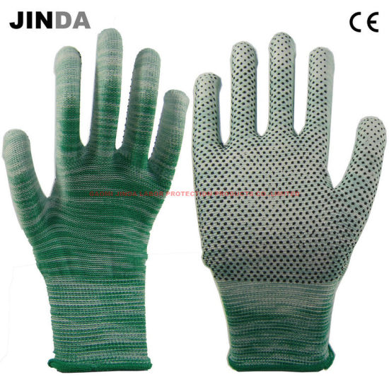 Polyester Shell PU DOT Coated Garden and Electronic Work Gloves