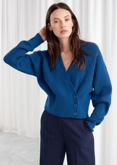 Women Deep V Neck Wool Sweater Fashion Clothes Uniform with Buttons