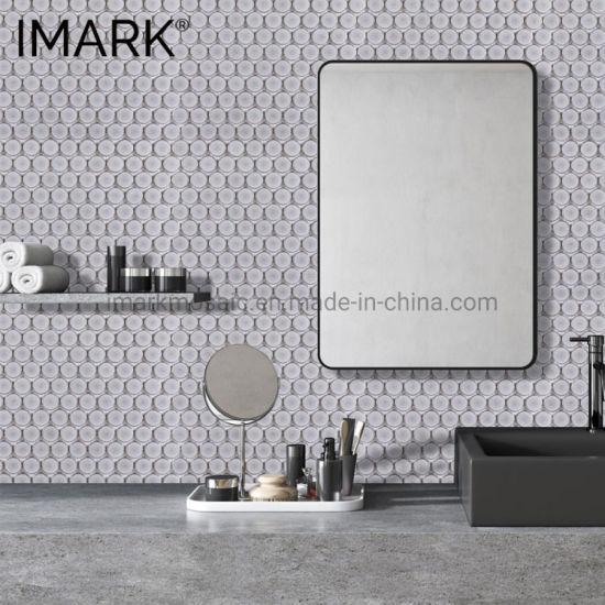 China Modern Penny Round Glossy Porcelain Mosaic For Bathroom Shower Tiles China Bathroom Mosaic Moden Bathroom Tiles